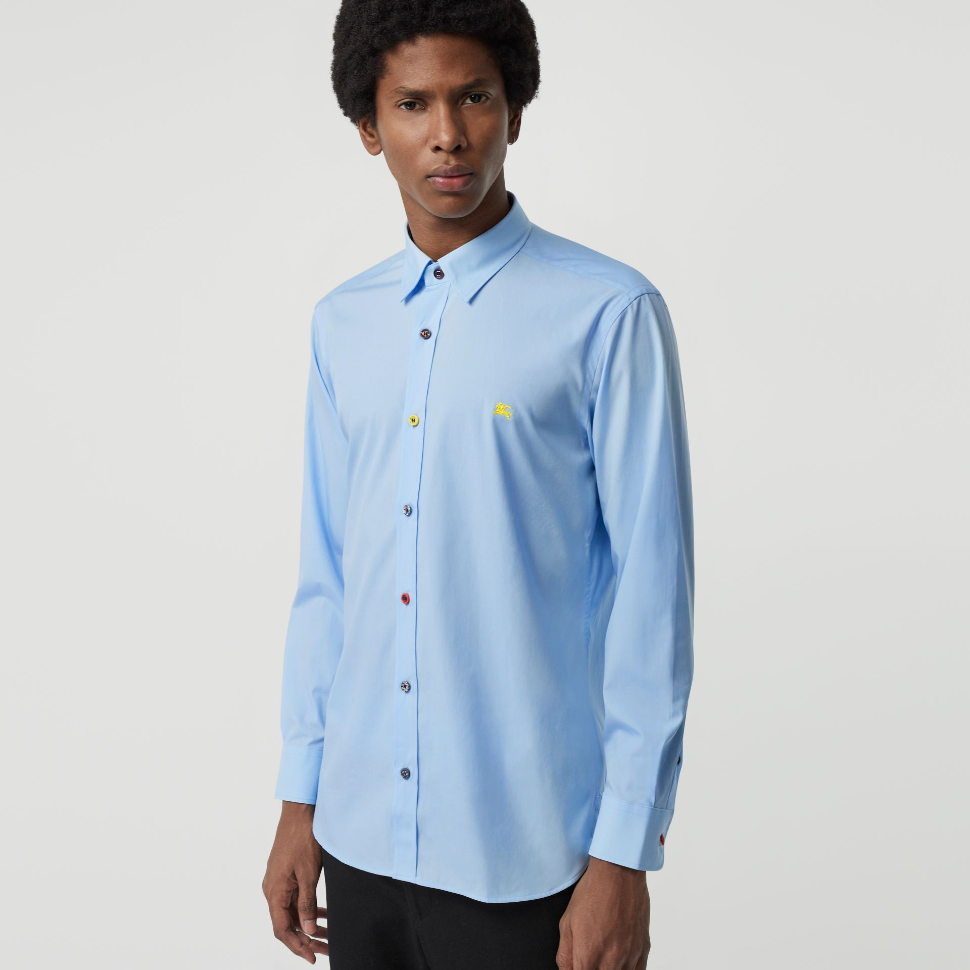 Contrast Button Stretch Cotton Shirt in Pale Blue - Men | Burberry Canada - gallery image 0