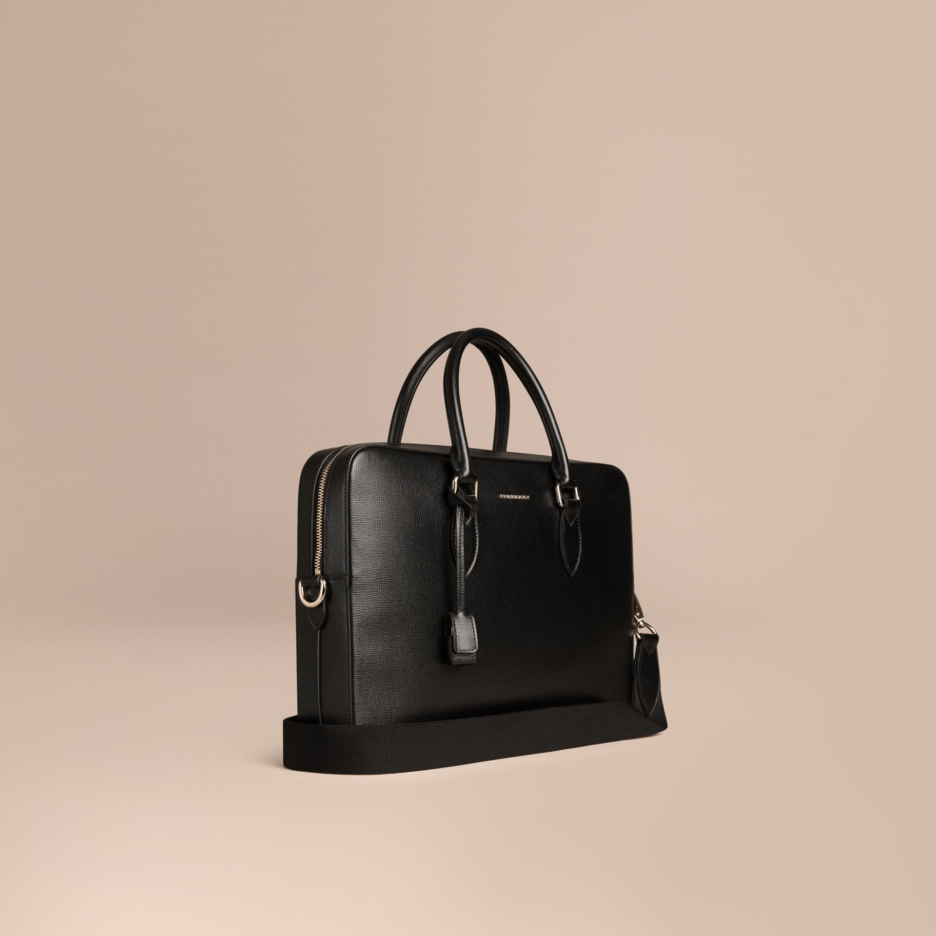 Black Medium London Leather Briefcase Black - gallery image 1