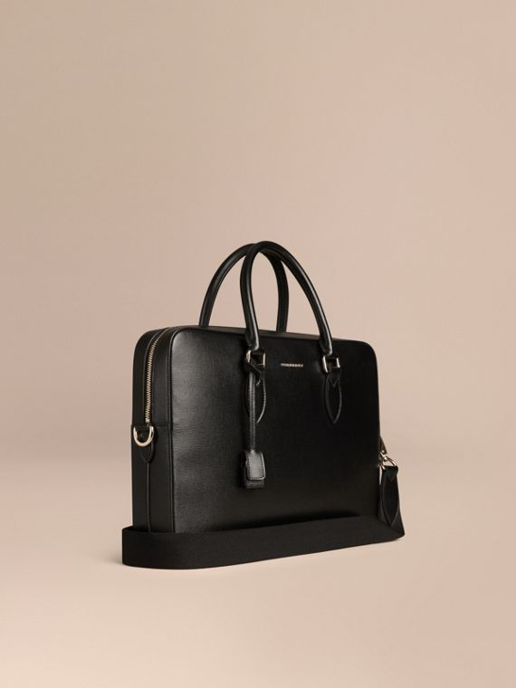 Medium London Leather Briefcase Black