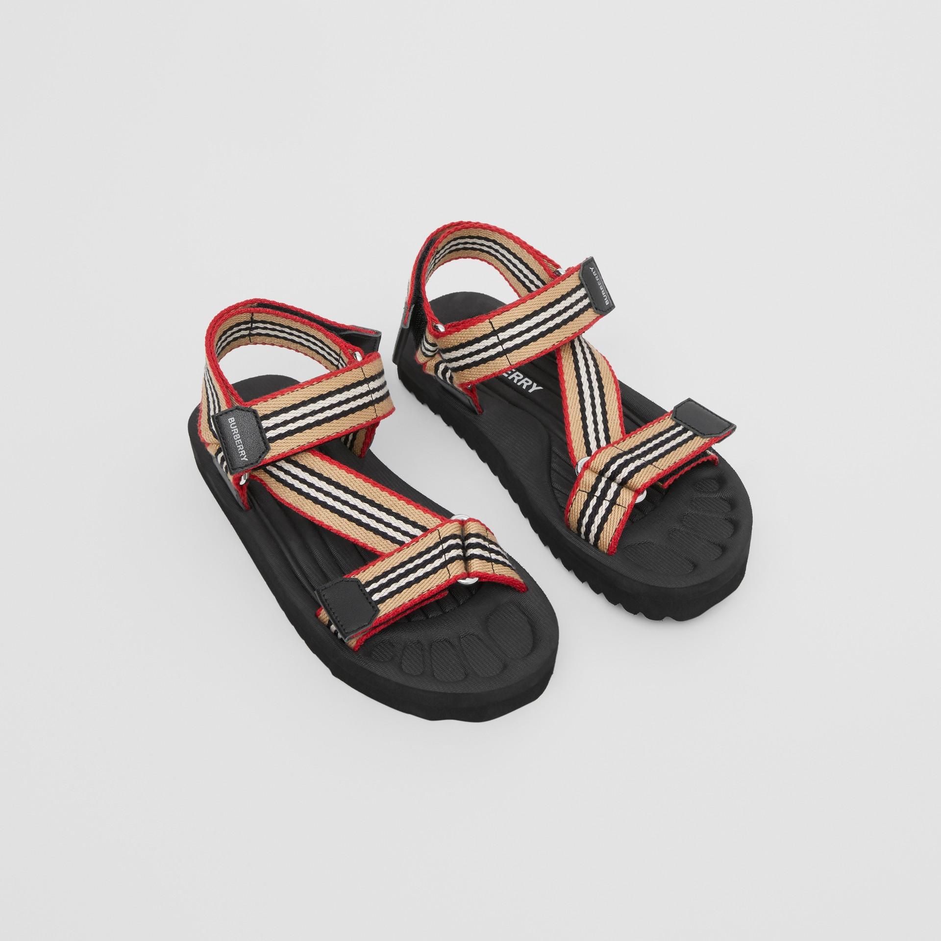 Icon Stripe Sandals in Archive Beige - Children | Burberry - gallery image 0