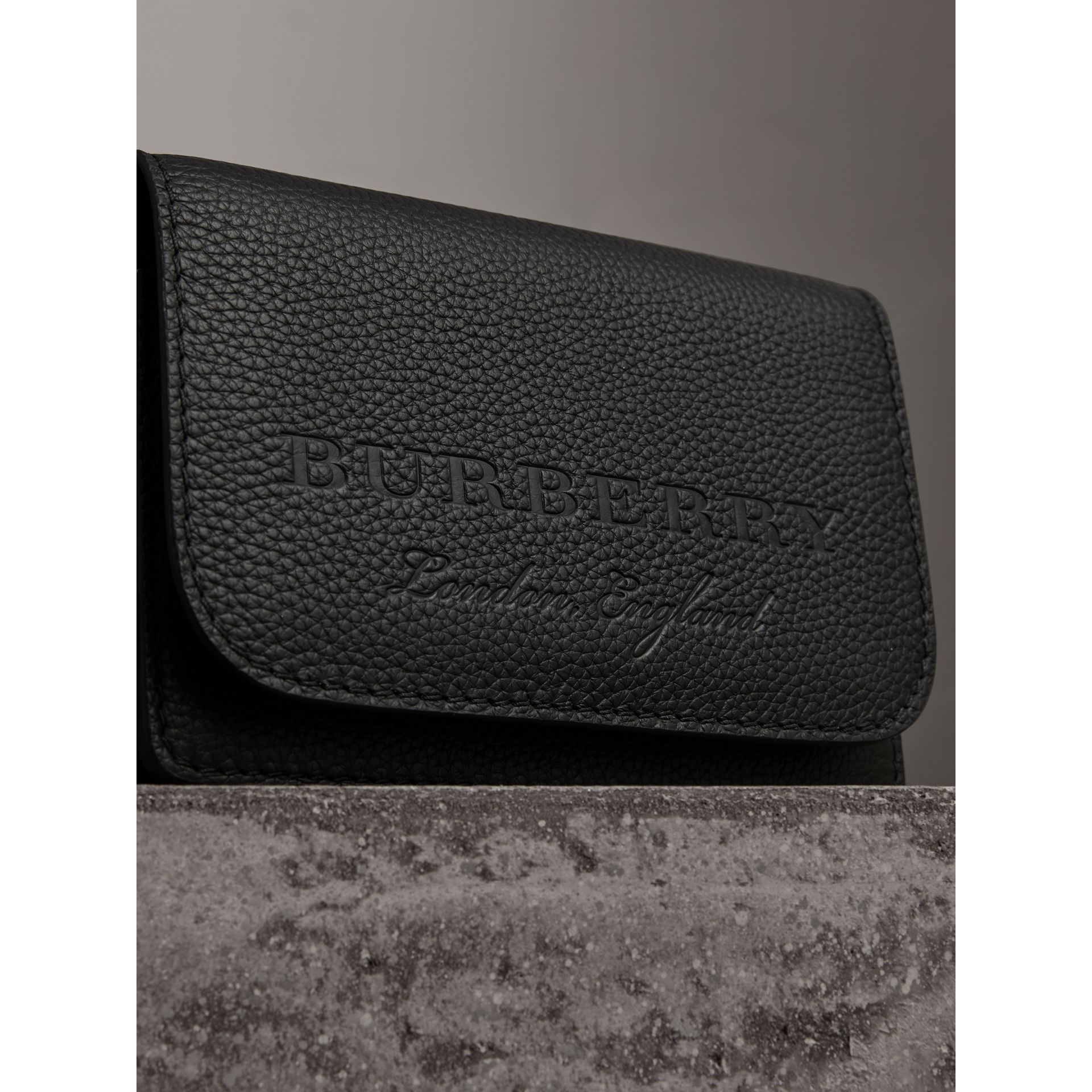 Embossed Leather Wallet with Detachable Strap in Black - Women | Burberry United States - gallery image 1