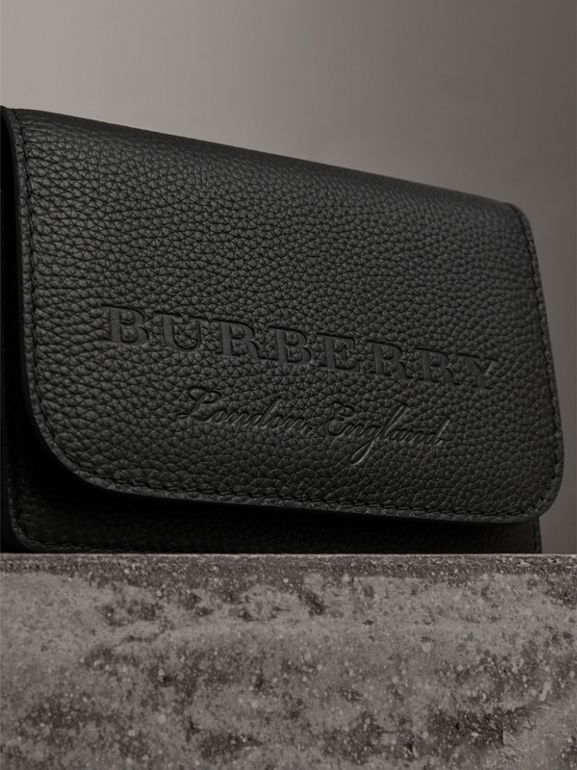 Embossed Leather Wallet with Detachable Strap in Black - Women | Burberry Hong Kong - cell image 1