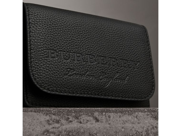Embossed Leather Wallet with Detachable Strap in Black - Women | Burberry United States - cell image 1