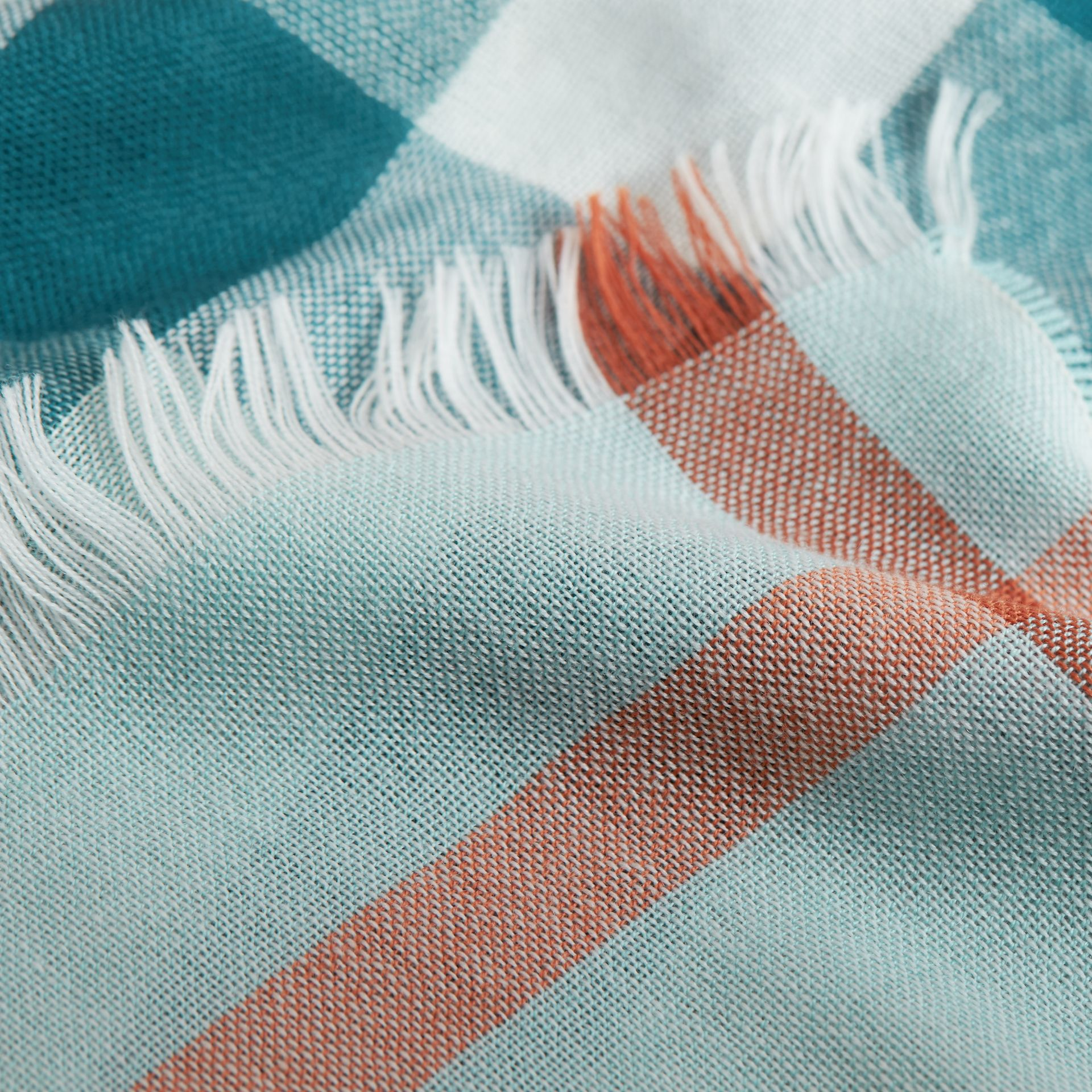 Lightweight Check Wool Cashmere Scarf in Powder Blue | Burberry - gallery image 2