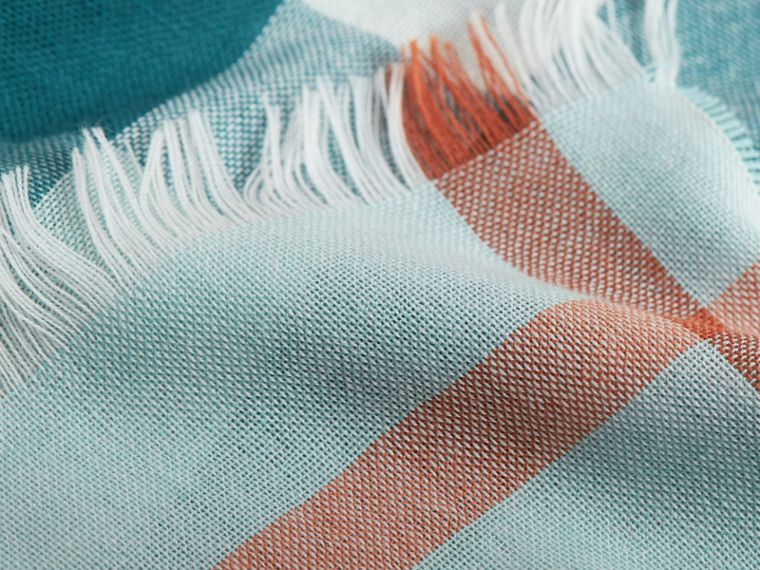 Lightweight Check Wool Cashmere Scarf in Powder Blue | Burberry - cell image 1