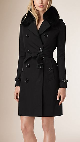 Fur-Trimmed Down-Filled Cotton Gabardine Trench Coat