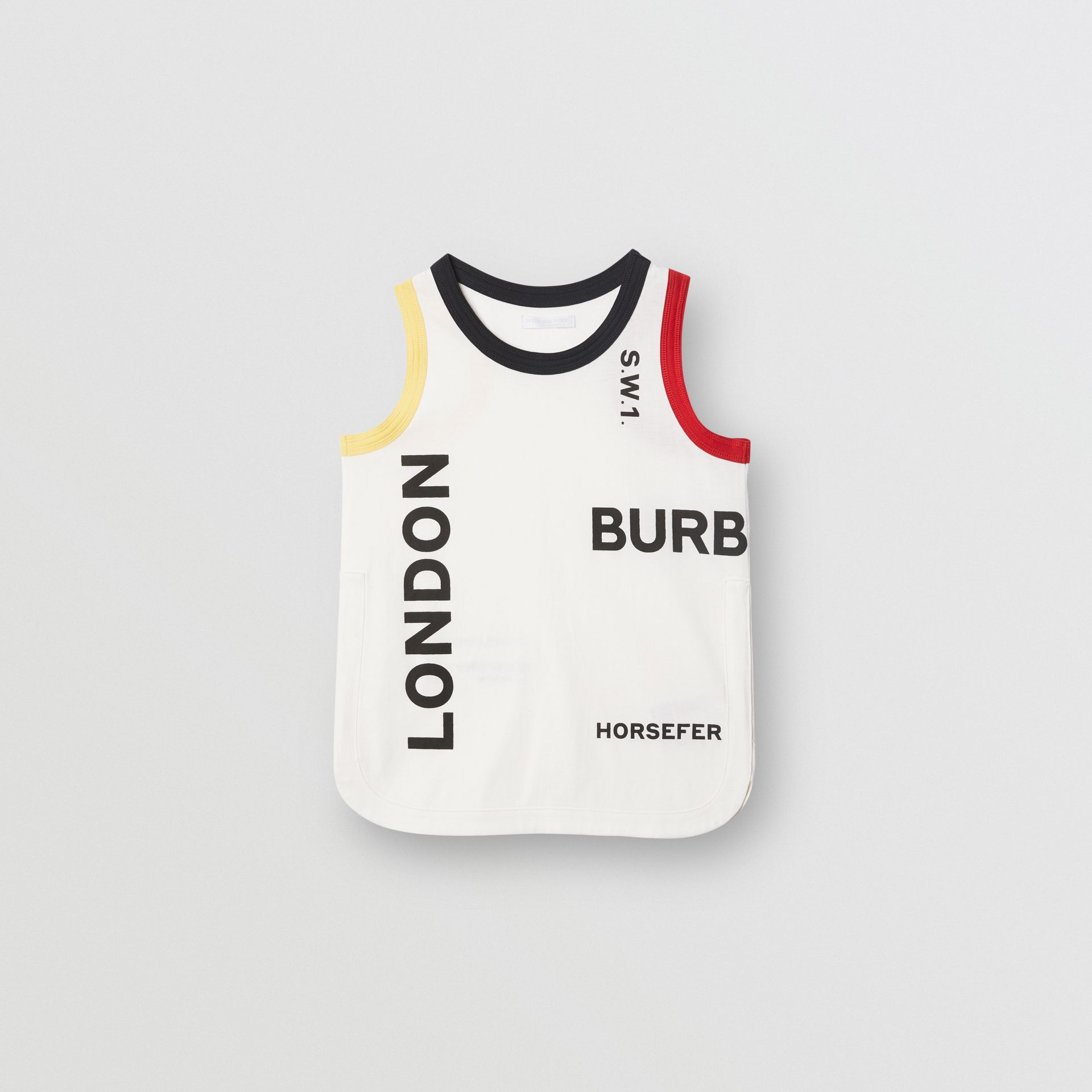 Logo Print Cotton Vest in White | Burberry - gallery image 0
