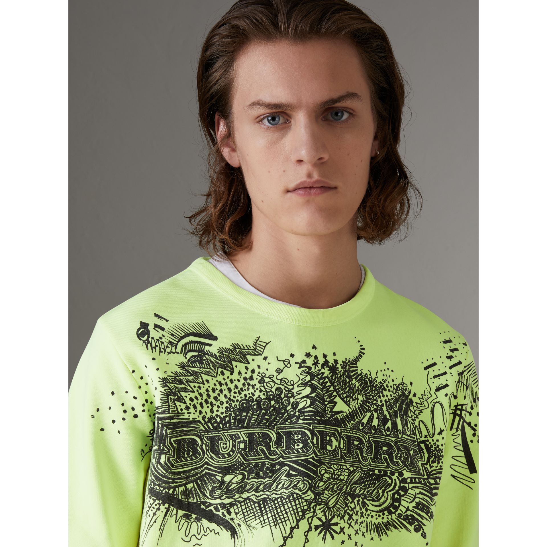 Doodle Print Cotton Sweatshirt in Bright Lemon - Men | Burberry - gallery image 1