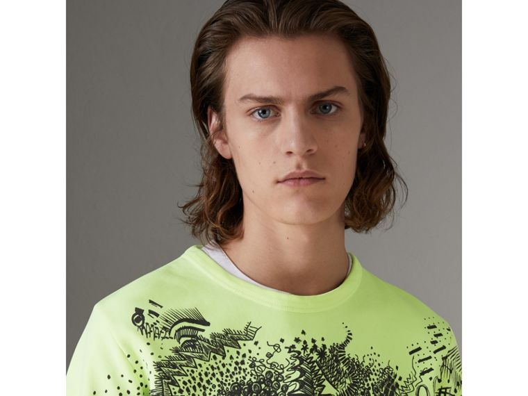 Doodle Print Cotton Sweatshirt in Bright Lemon - Men | Burberry Hong Kong - cell image 1