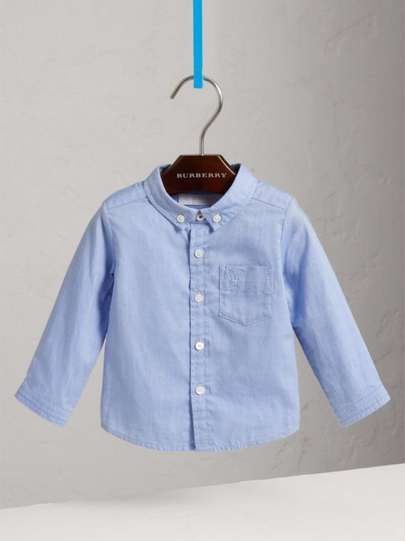 Cotton Oxford Shirt in Cornflower Blue | Burberry - cell image 2