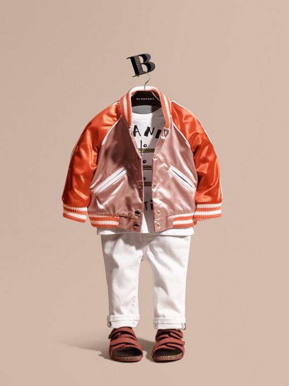 Varsity-style Satin Bomber Jacket