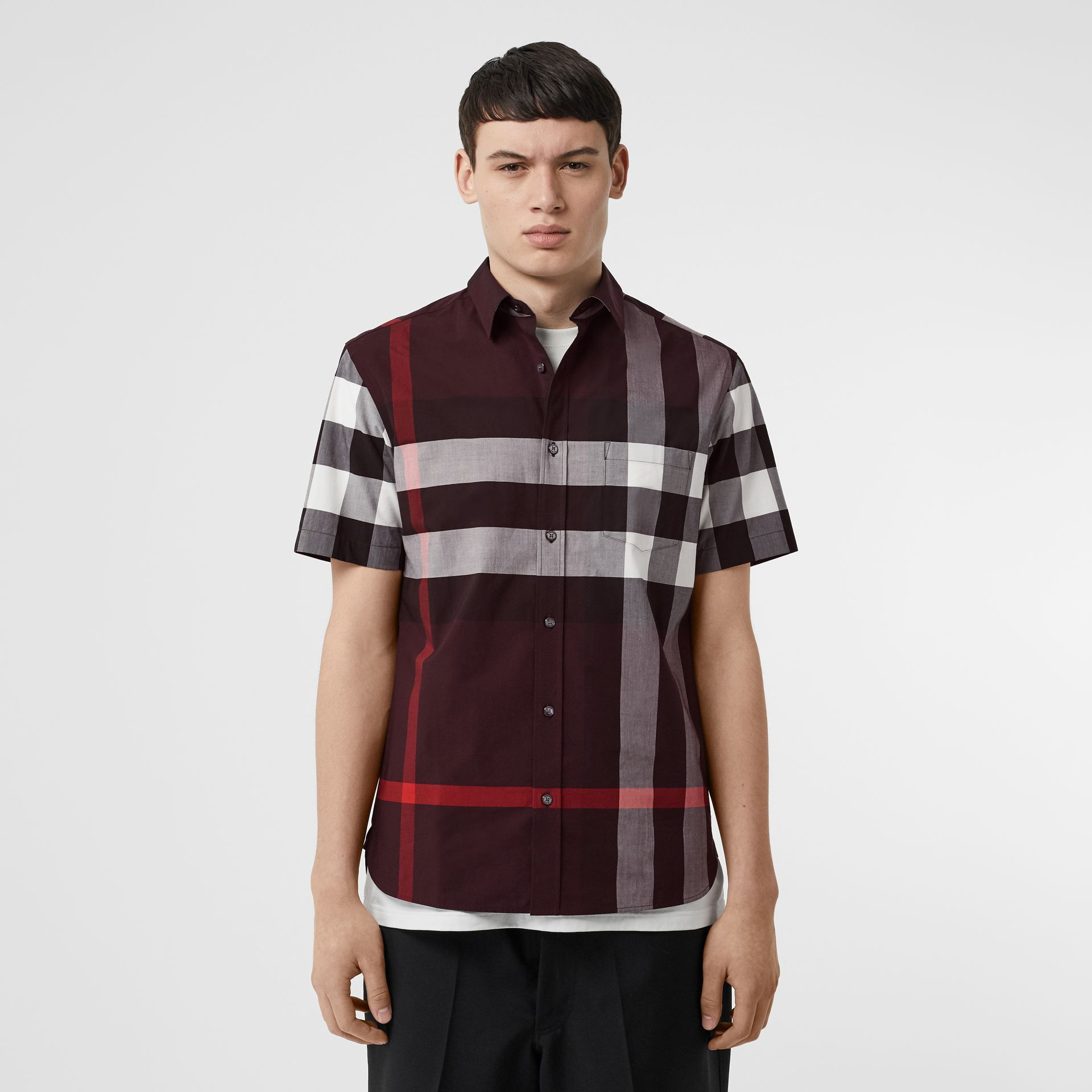 Short-sleeve Check Stretch Cotton Shirt in Deep Claret - Men | Burberry - gallery image 0