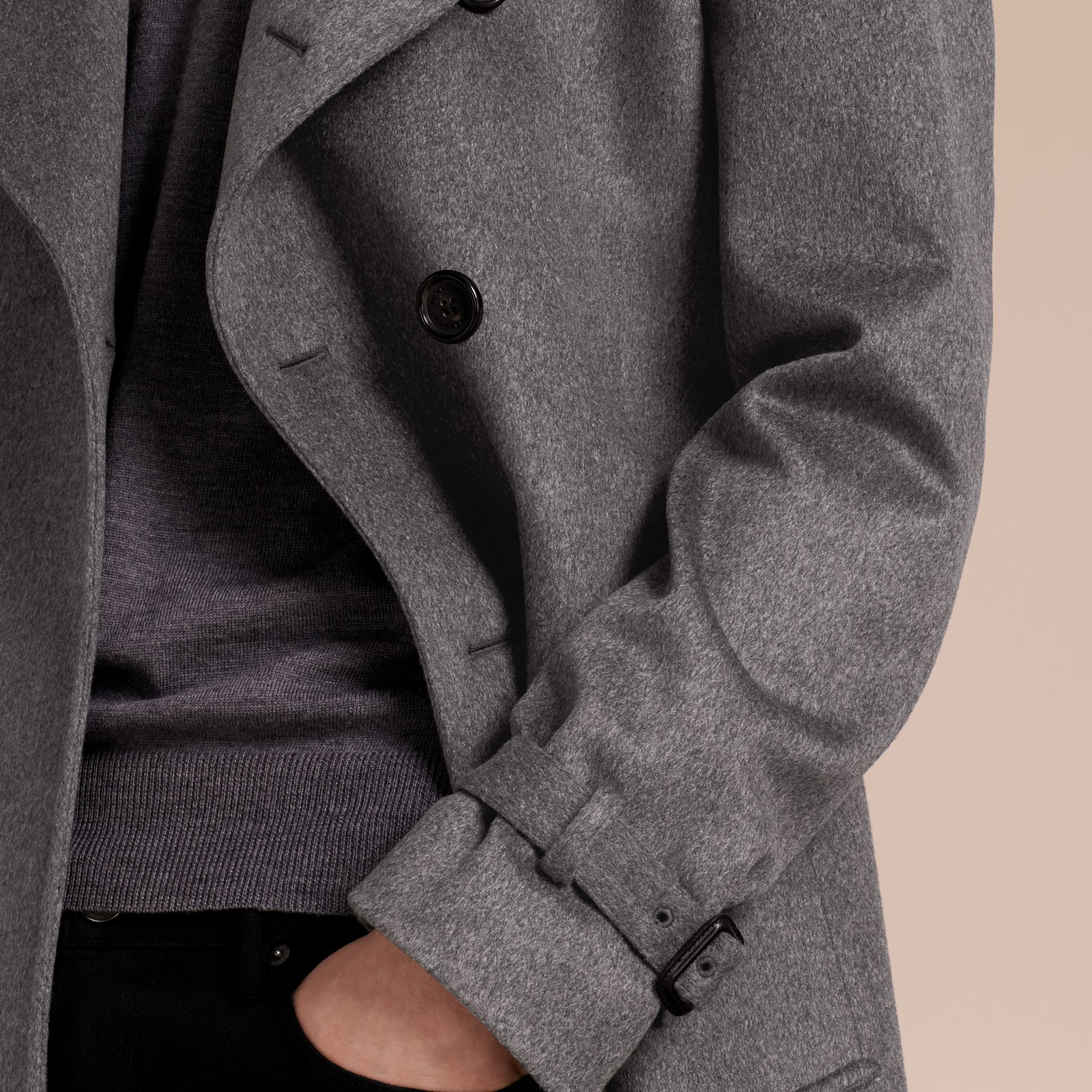 Cashmere Trench Coat in Dark Grey Melange - Men | Burberry - gallery image 4