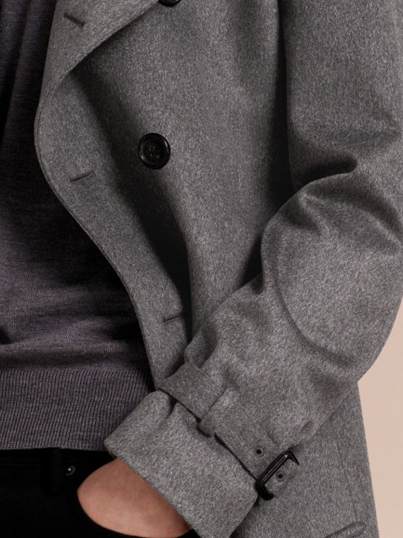 Cashmere Trench Coat Dark Grey Melange - cell image 3