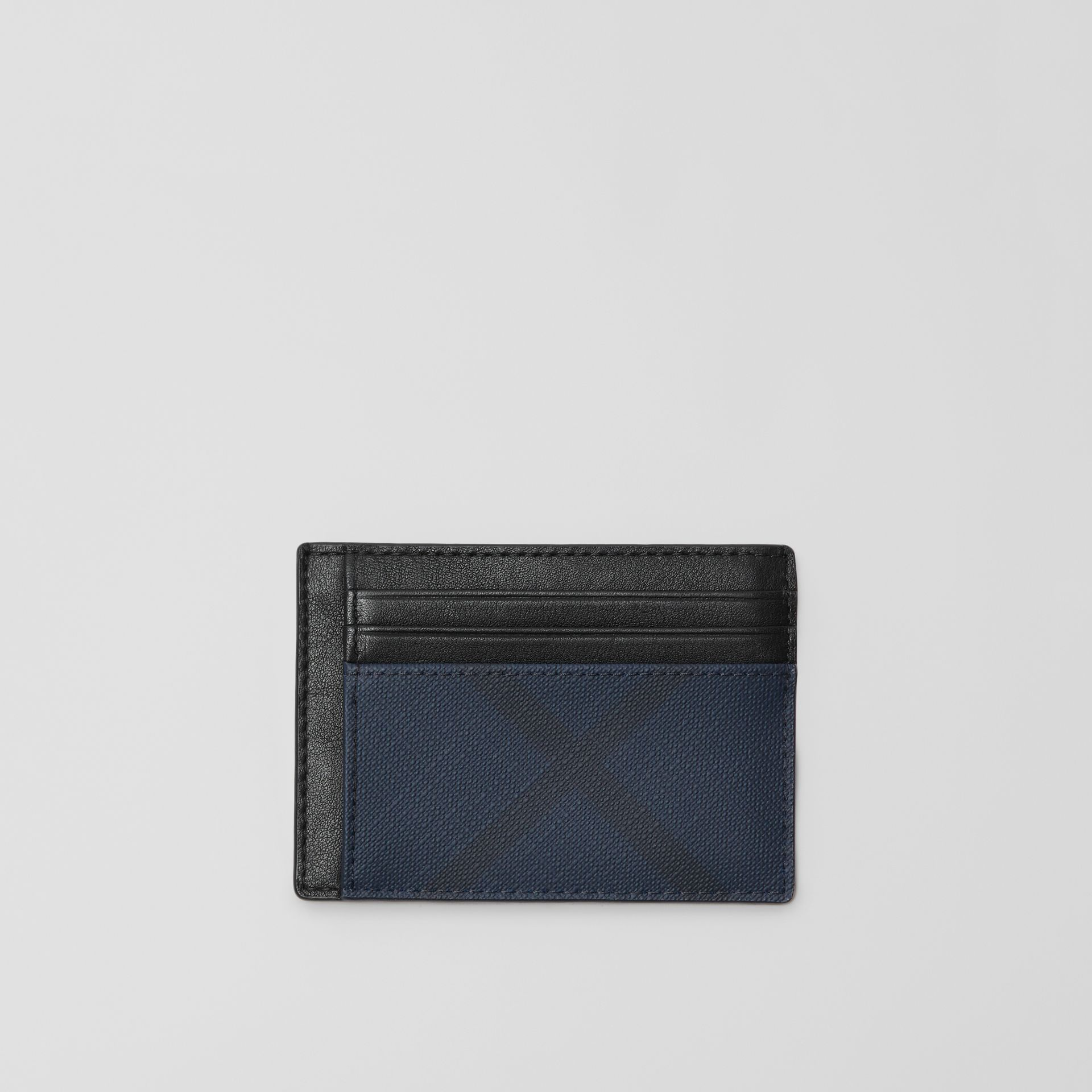London Check and Leather Card Case in Navy/black - Men | Burberry Australia - gallery image 0