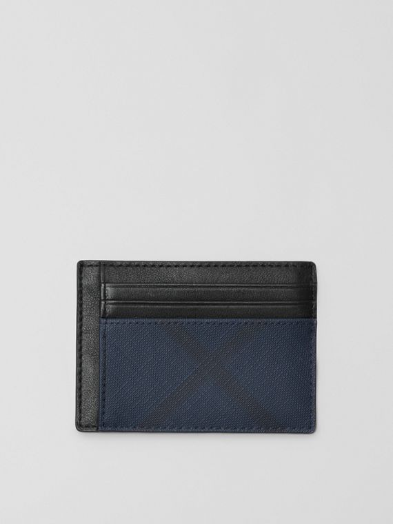 Porta carte di credito con pelle e motivo London check (Navy/nero)