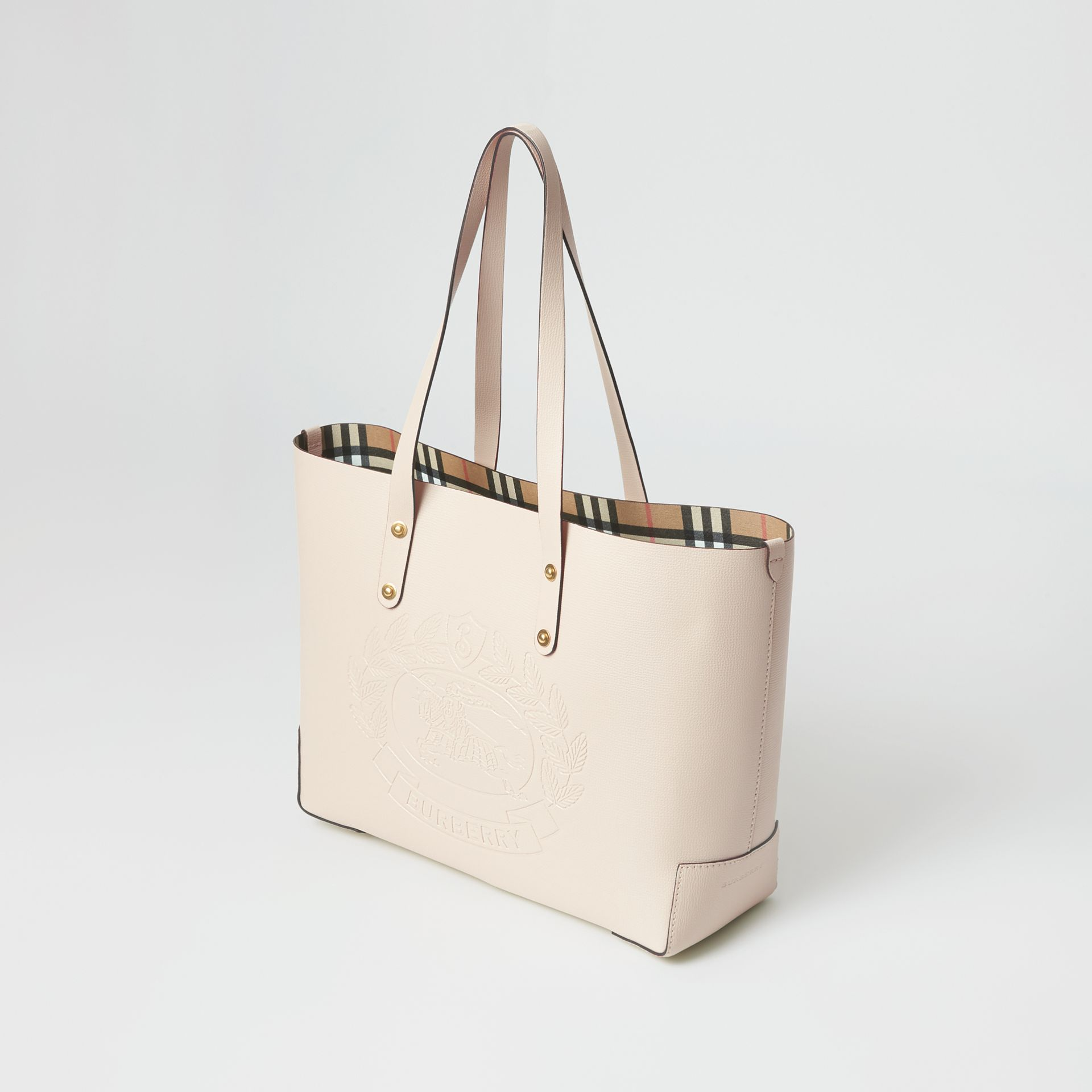 Small Embossed Crest Leather Tote in Limestone | Burberry - gallery image 4