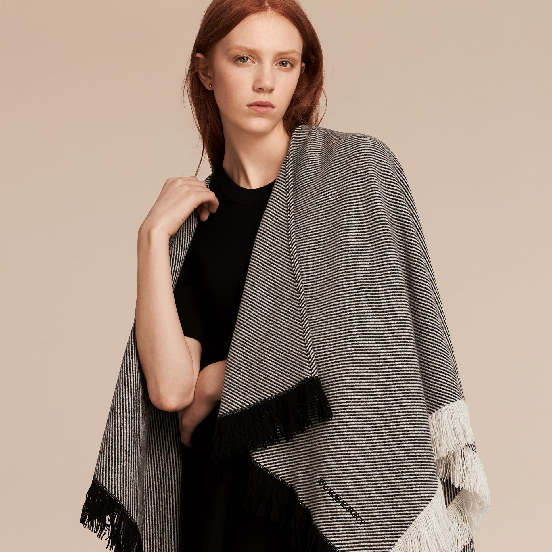 Black/white Fringed Wool Cashmere Poncho - gallery image 1