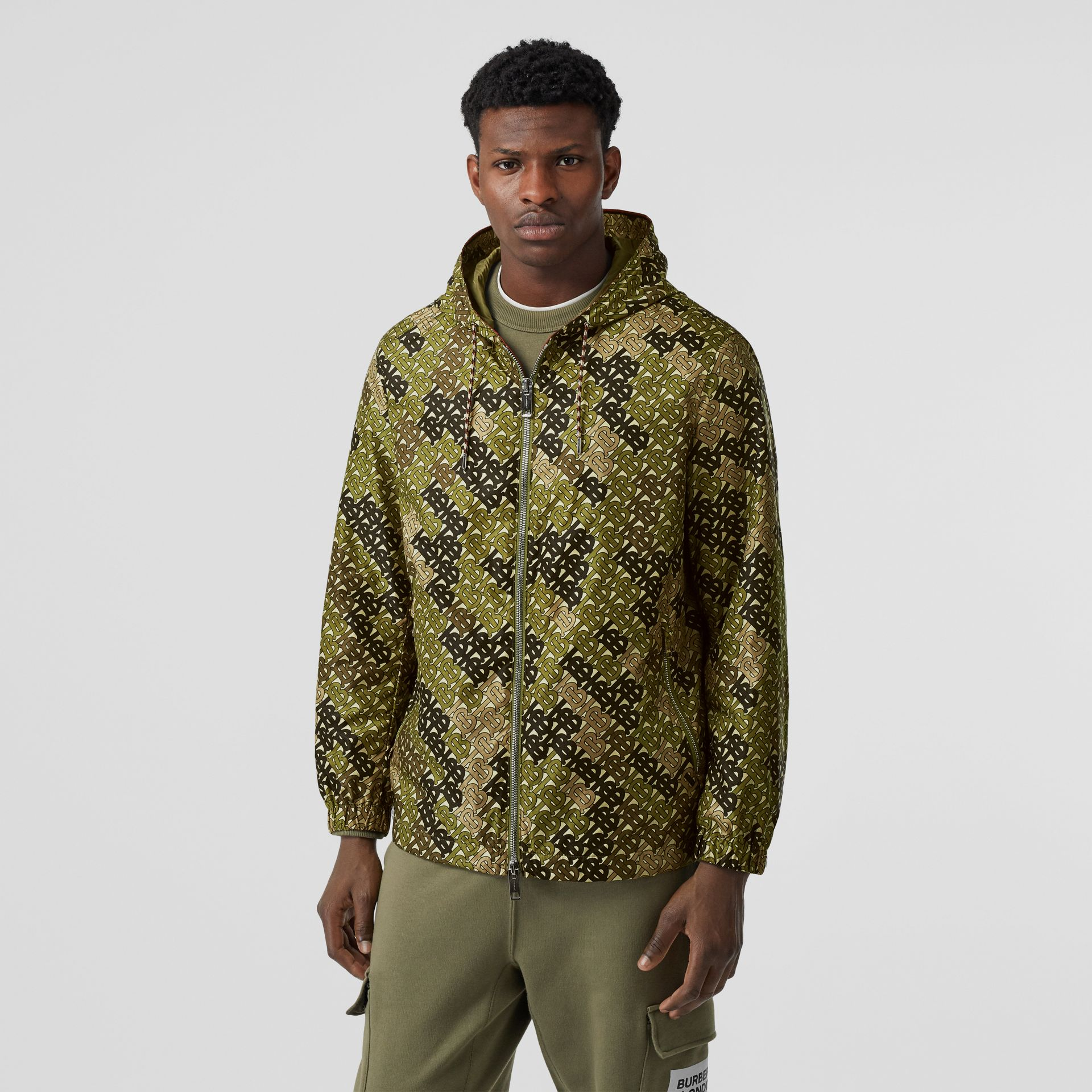 Monogram Print Nylon Hooded Jacket in Khaki Green - Men | Burberry - gallery image 4