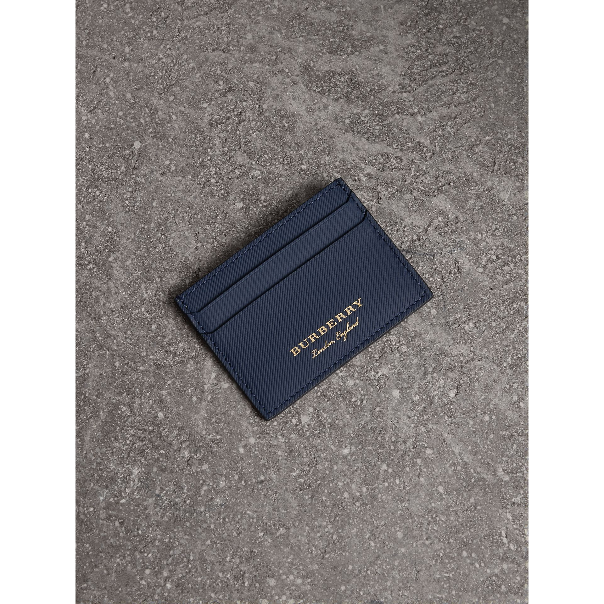 Trench Leather Card Case in Ink Blue - Men | Burberry - gallery image 1