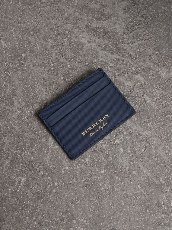 Trench Leather Card Case in Ink Blue