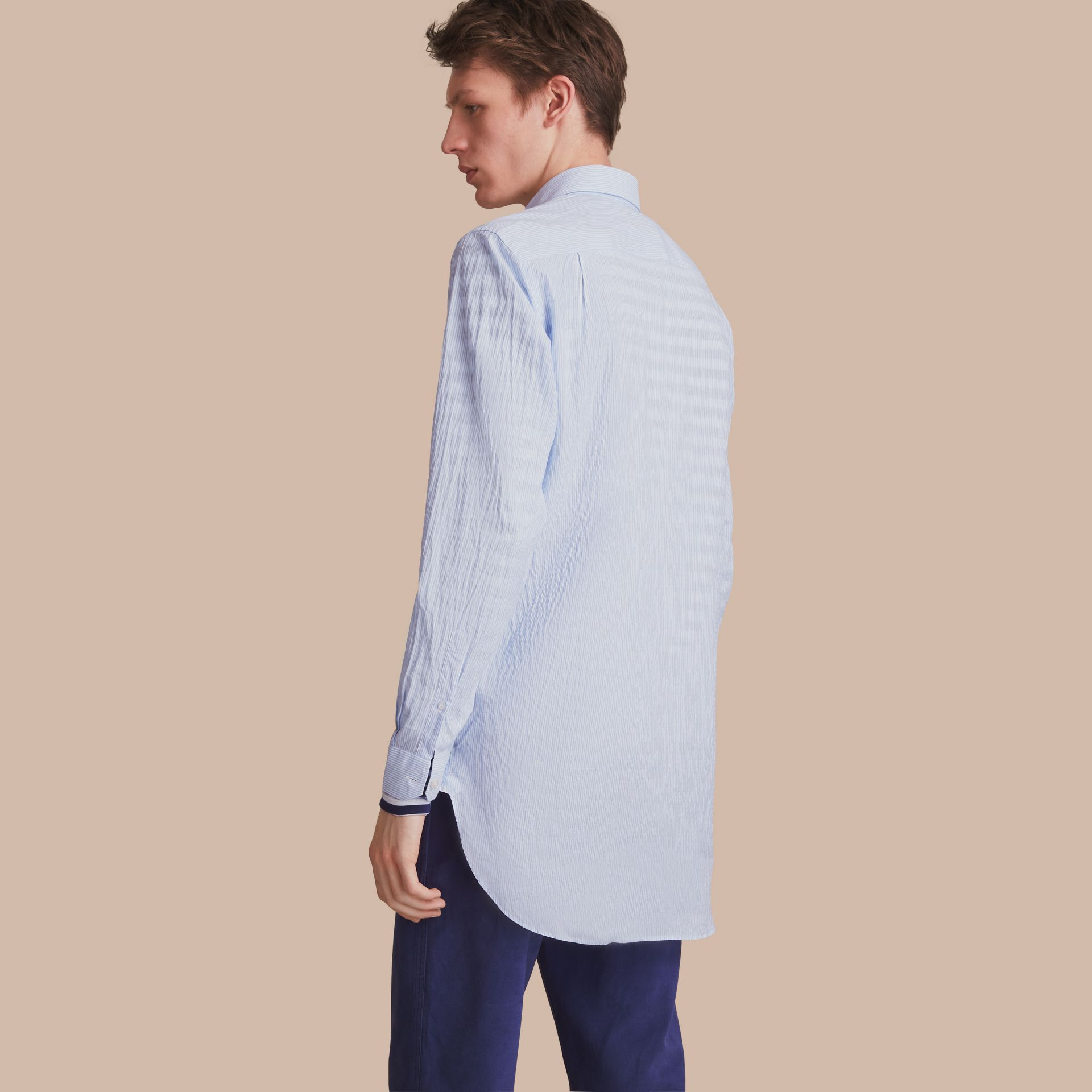 Striped Seersucker Stretch Cotton Shirt - gallery image 3