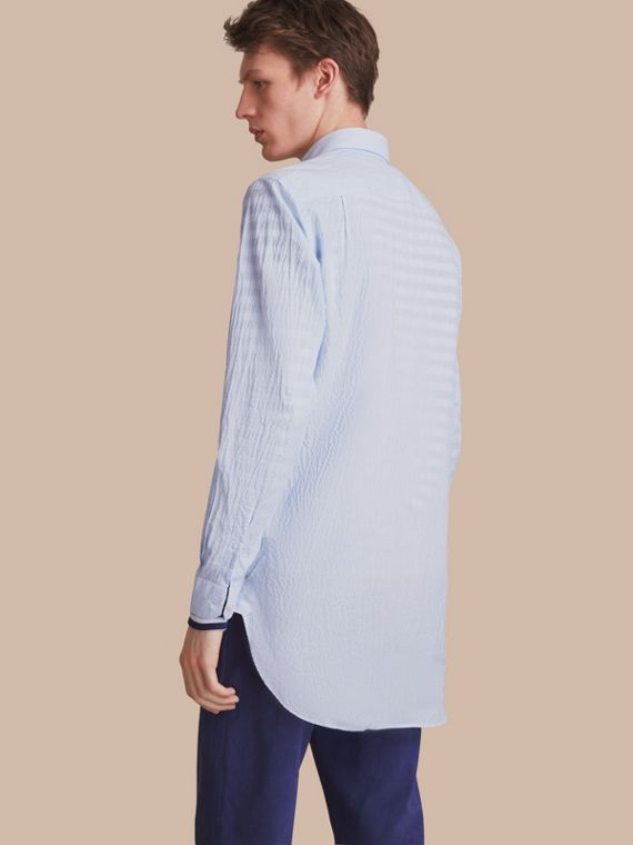 Striped Seersucker Stretch Cotton Shirt - cell image 2