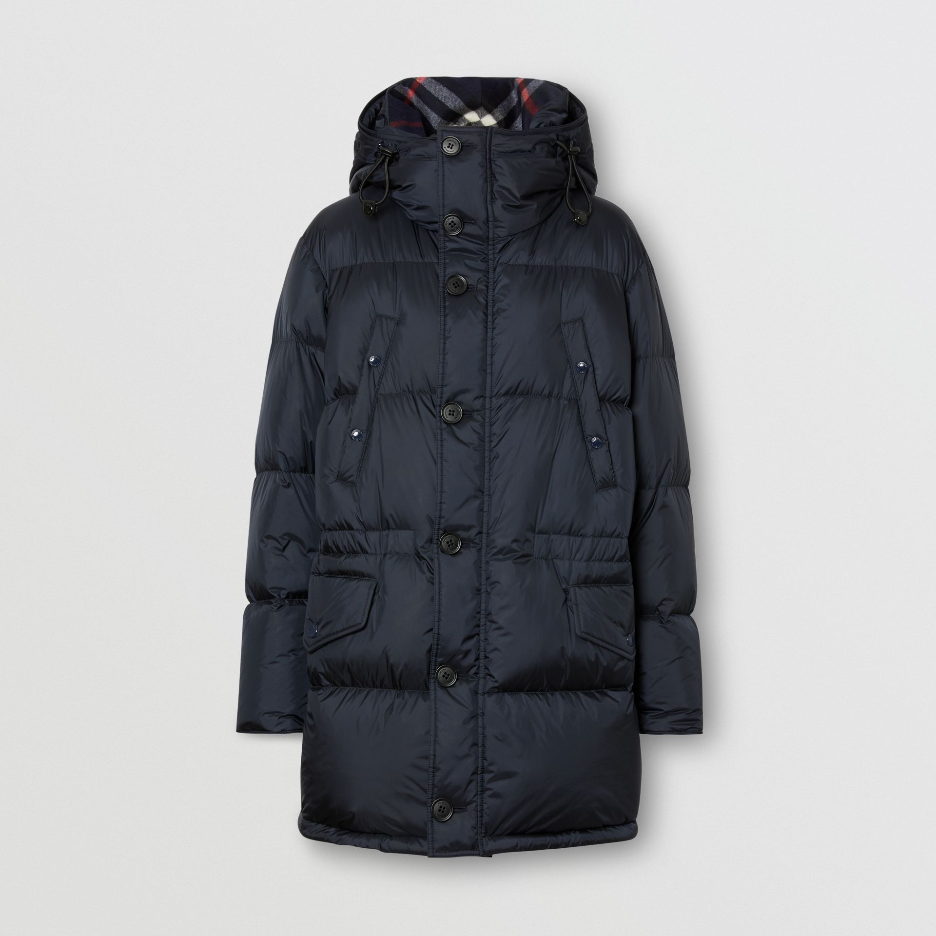 Logo Detail Hooded Puffer Coat in Navy - Men | Burberry - gallery image 3