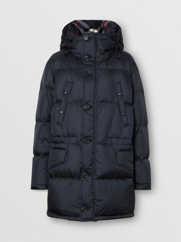 Logo Detail Hooded Puffer Coat in Navy - Men | Burberry Singapore - cell image 3