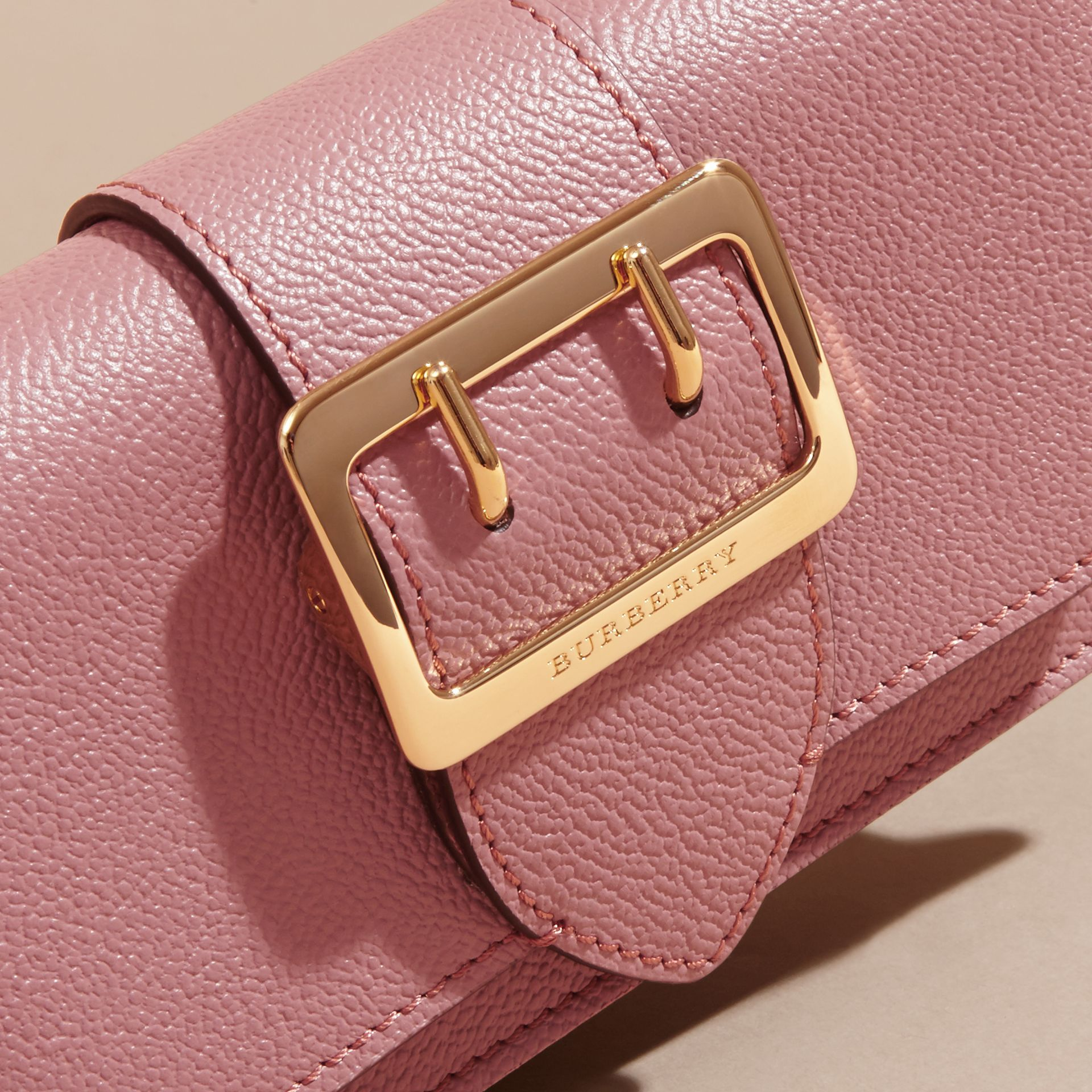 The Mini Buckle Bag in Grainy Leather Dusty Pink - gallery image 2