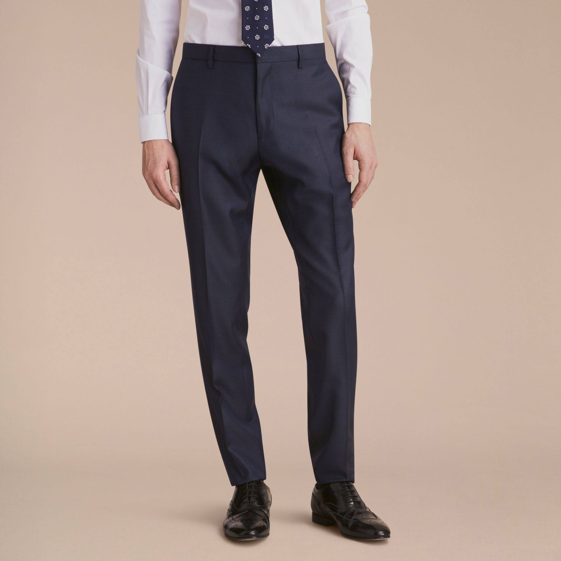 Modern Fit Wool Silk Part-canvas Suit - Men | Burberry - gallery image 9