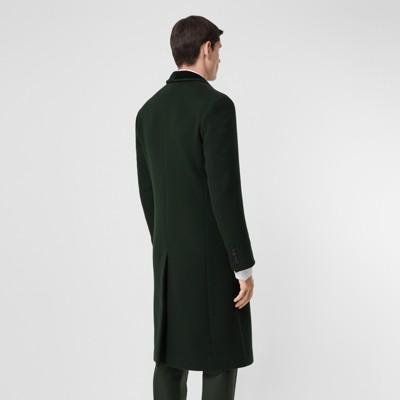 ajusté en SombreHommeBurberry Manteau avec laine cachemire veloursVert et Pin EH2D9I