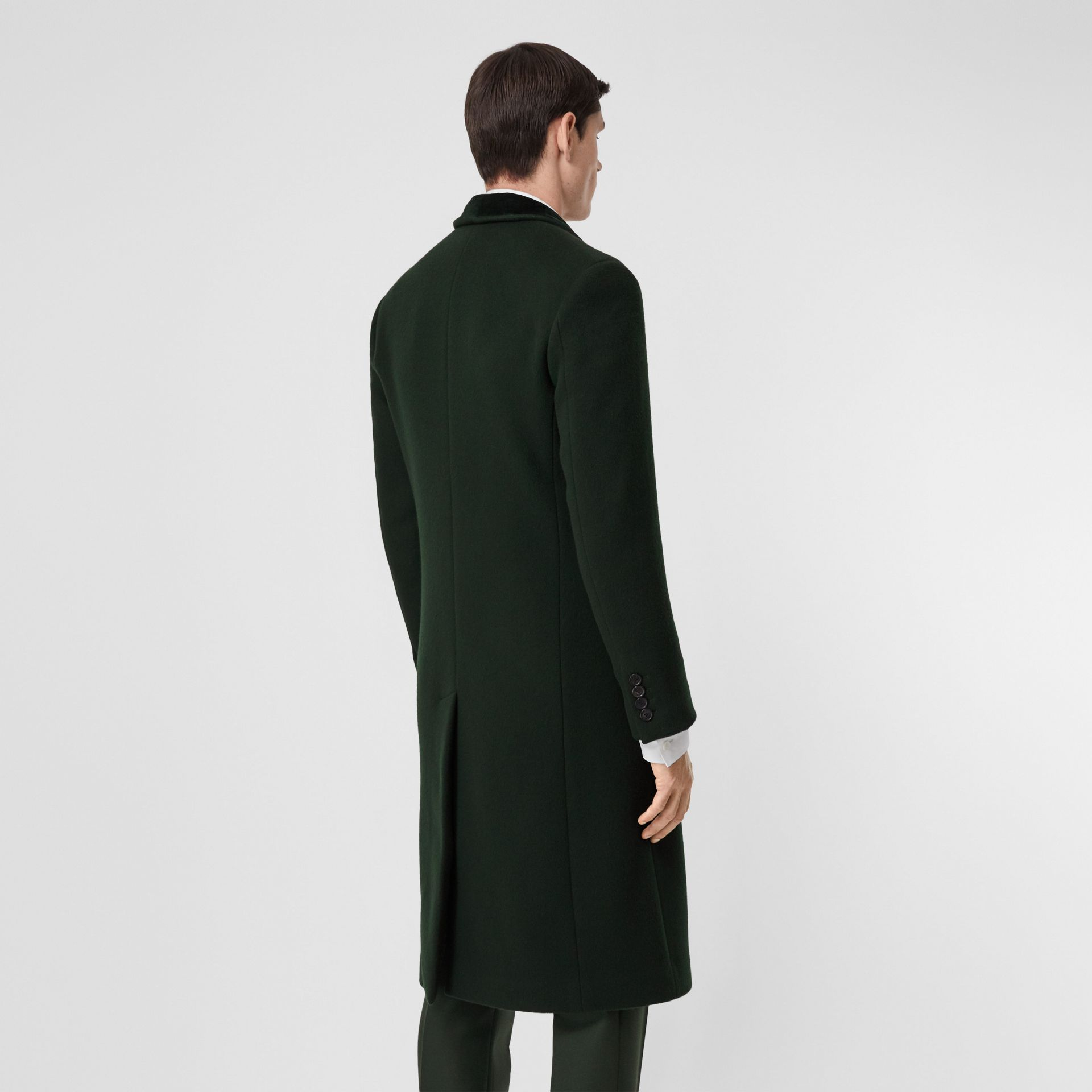 Velvet Trim Wool Cashmere Tailored Coat in Dark Pine Green - Men | Burberry - gallery image 2