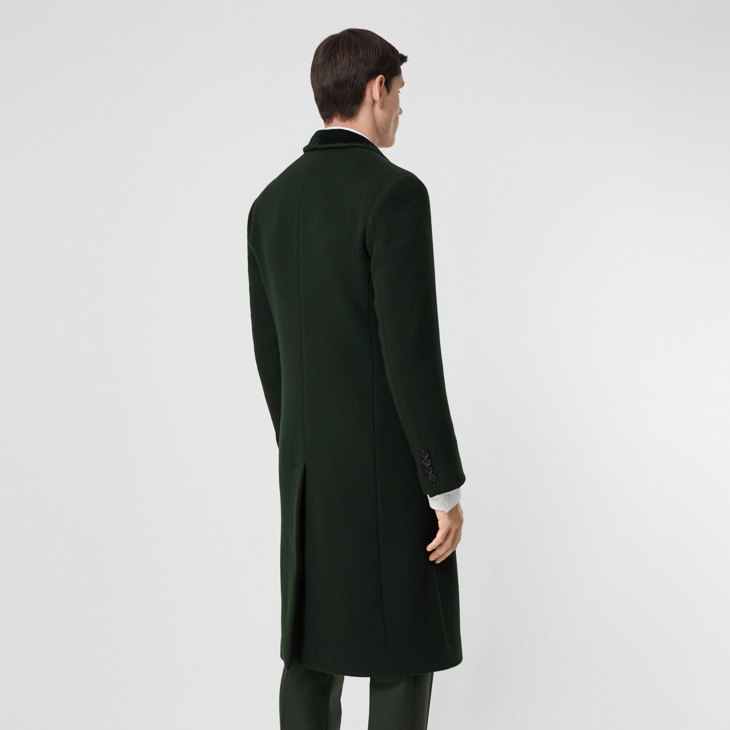 Velvet Trim Wool Cashmere Tailored Coat in Dark Pine Green - Men | Burberry - 3