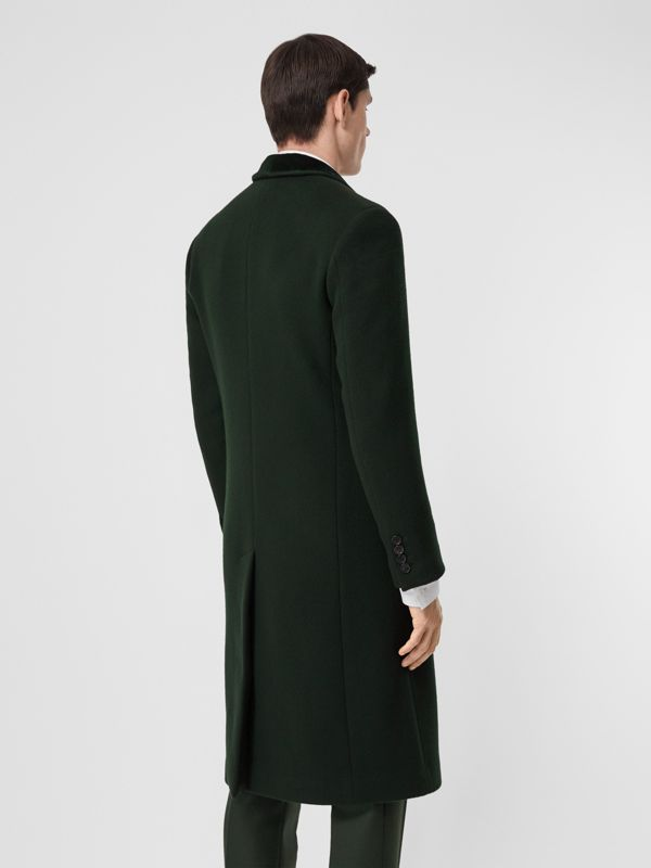 Velvet Trim Wool Cashmere Tailored Coat in Dark Pine Green - Men | Burberry - cell image 2