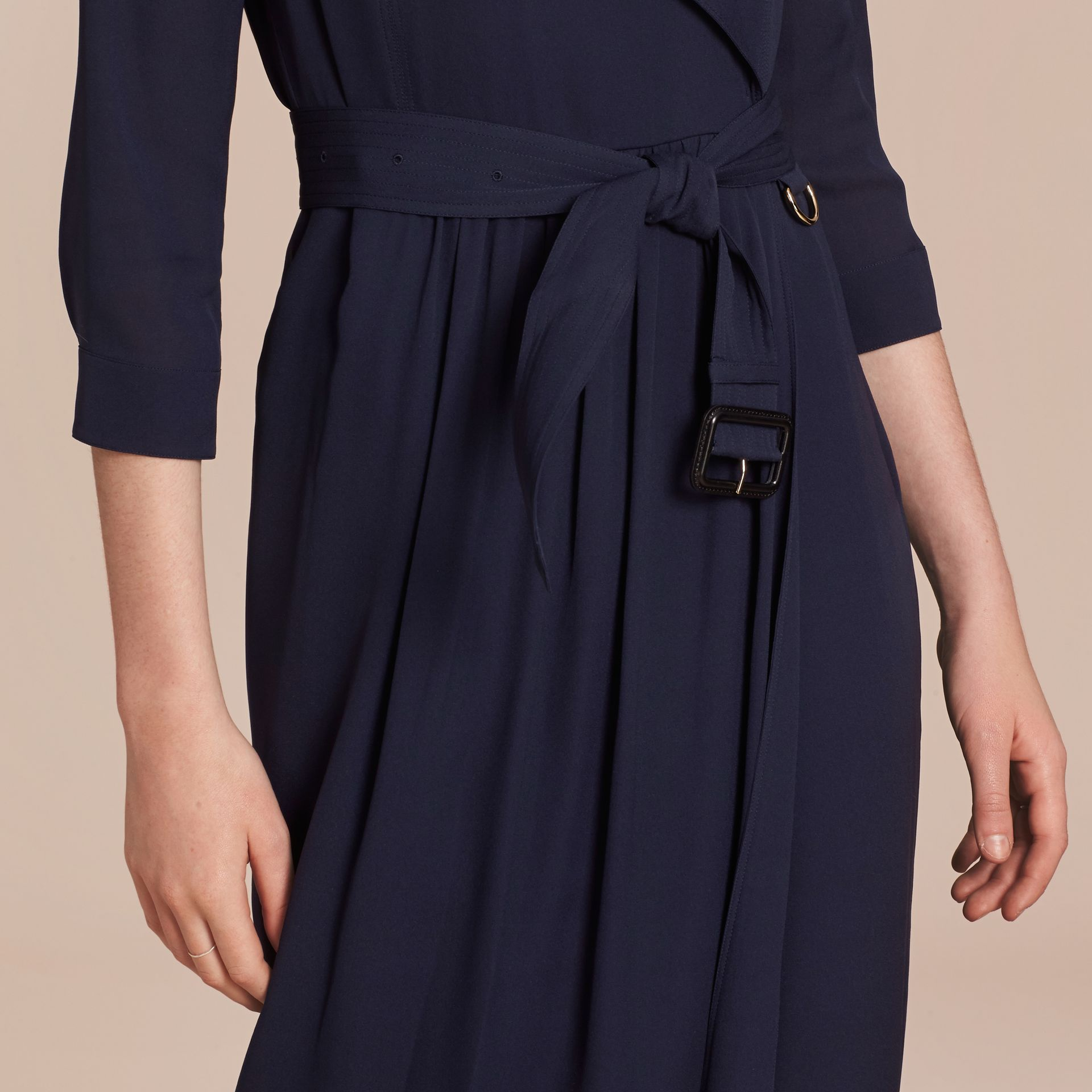 Silk Trench Dress in Navy - gallery image 6