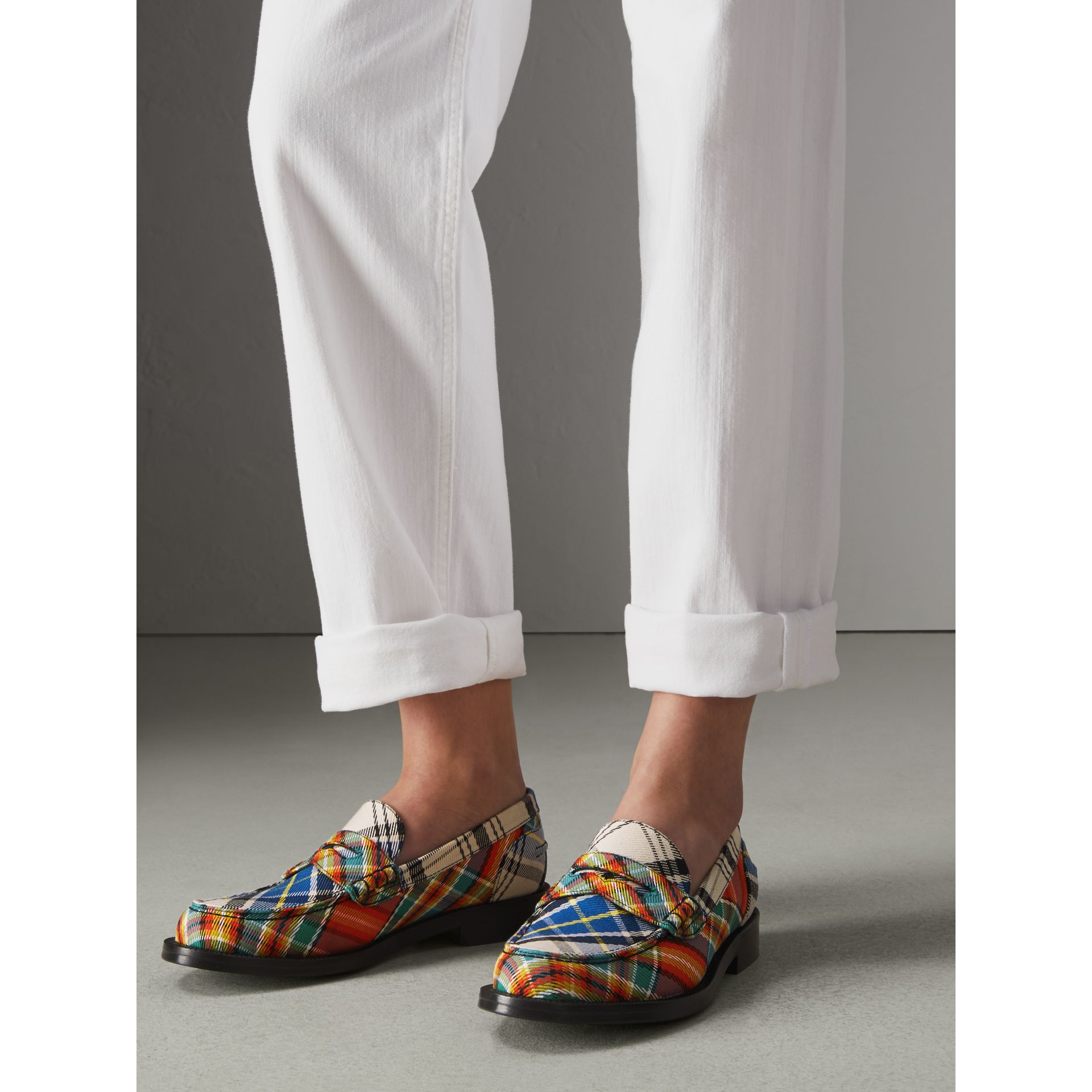 Tartan Cotton Penny Loafers in Poppy Orange - Women | Burberry - gallery image 2