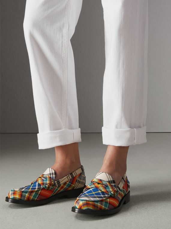 Tartan Cotton Penny Loafers in Poppy Orange - Women | Burberry - cell image 2