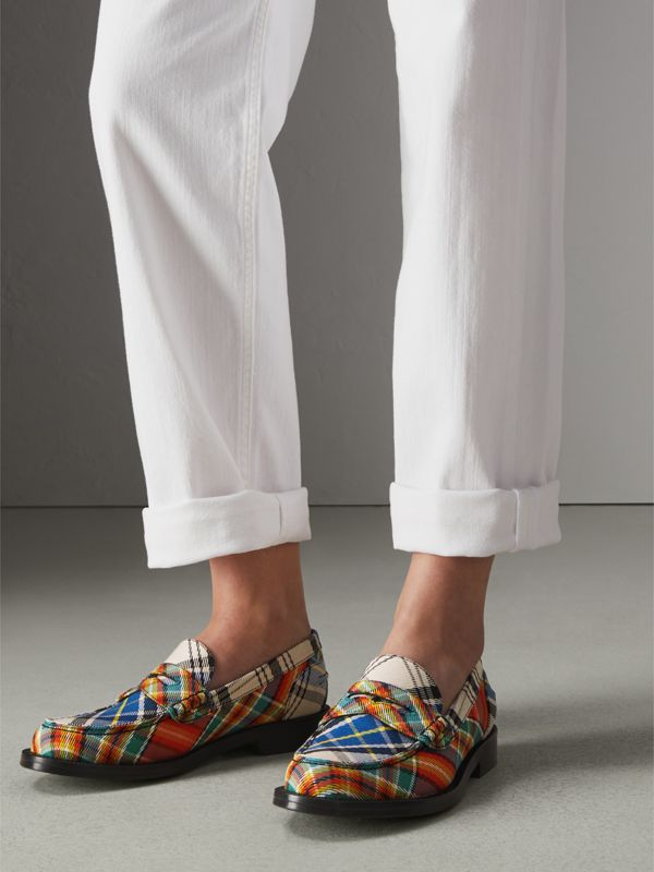 Tartan Cotton Penny Loafers in Poppy Orange - Women | Burberry United Kingdom - cell image 2