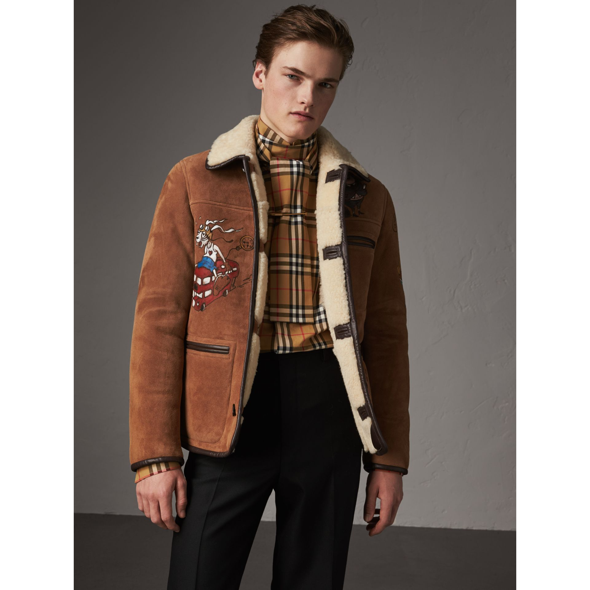 Sketch Print Shearling Jacket in Biscuit - Men | Burberry - gallery image 5