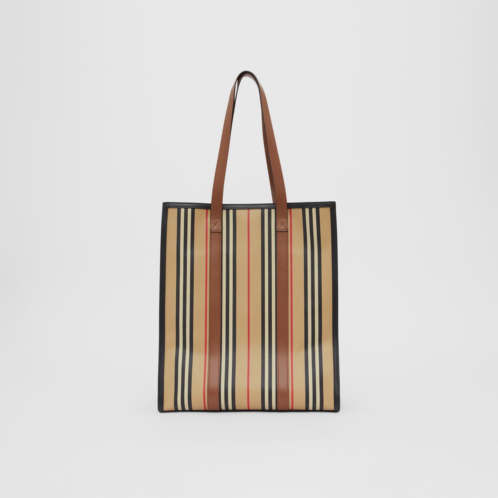 Icon Stripe E-canvas Portrait Tote Bag in Archive Beige | Burberry Canada - gallery image 7
