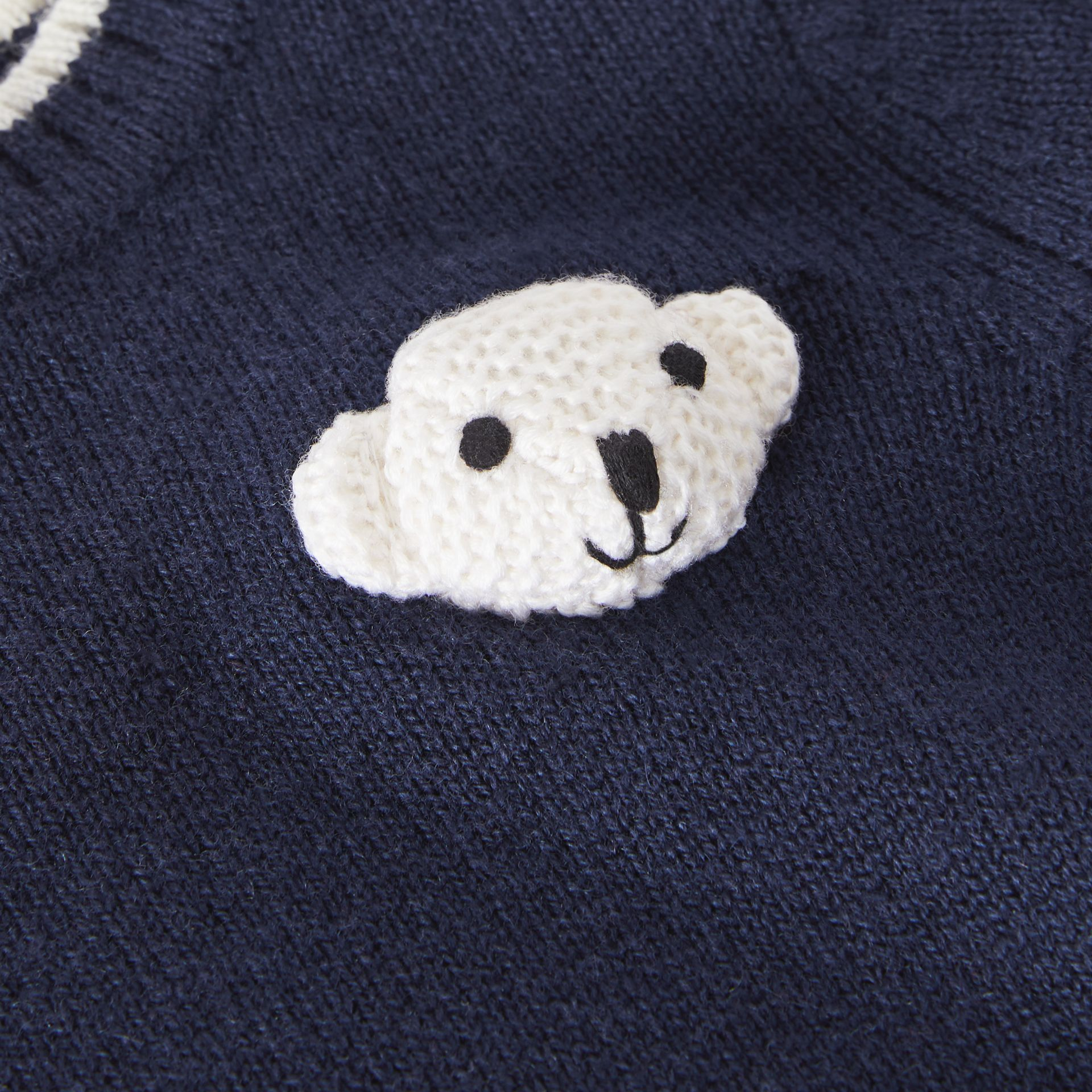 Thomas Bear Detail Wool Cashmere Sweater Dress in Navy - Children | Burberry - gallery image 1