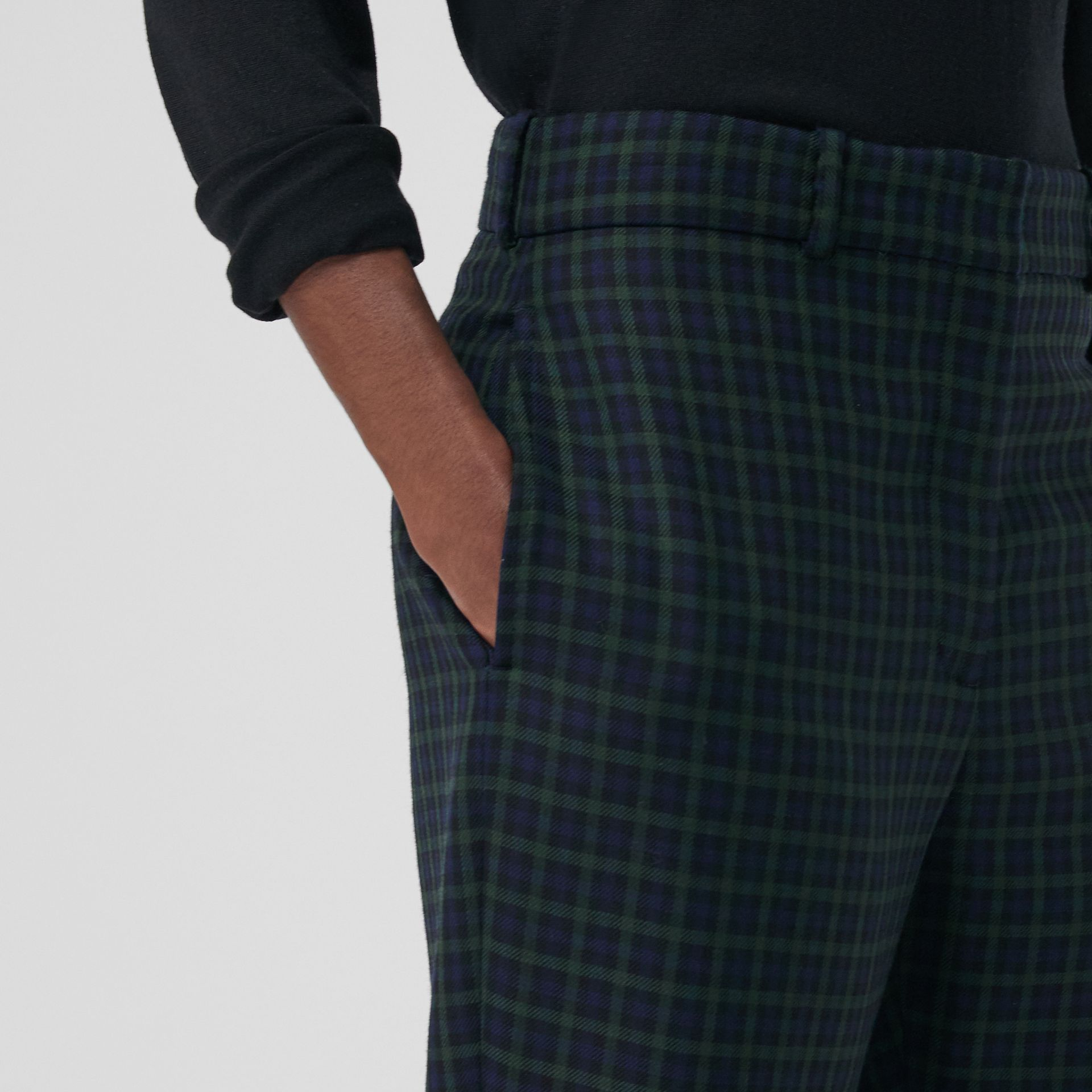 Straight Fit Check Wool Blend Tailored Trousers in Navy - Women | Burberry - gallery image 1