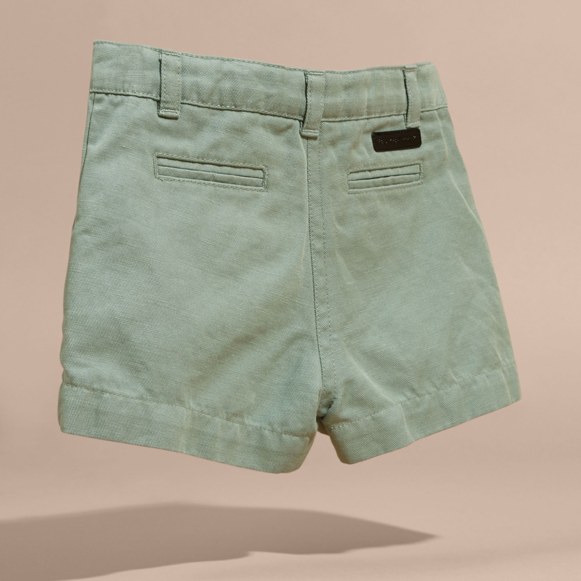 Pale eucalyptus Button Detail Cotton and Linen Shorts - gallery image 4