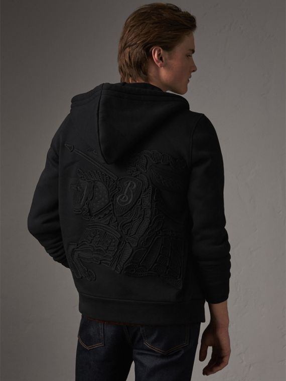 Equestrian Knight Device Jersey Hooded Zip-front Top in Black - Men | Burberry United Kingdom - cell image 2