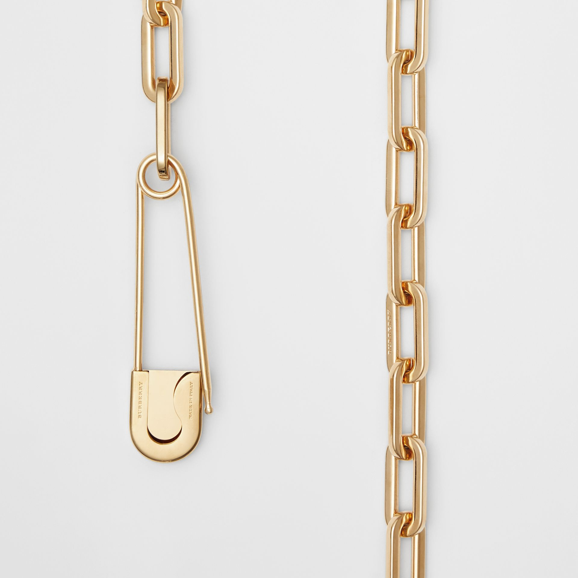 Kilt Pin Gold-plated Long Link Drop Necklace in Light - Women | Burberry - gallery image 1