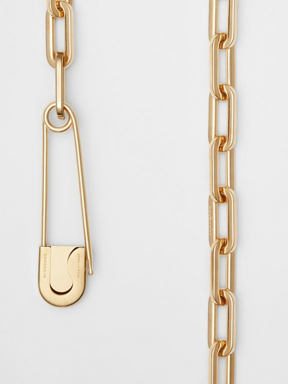Kilt Pin Gold-plated Long Link Drop Necklace in Light - Women | Burberry - cell image 1