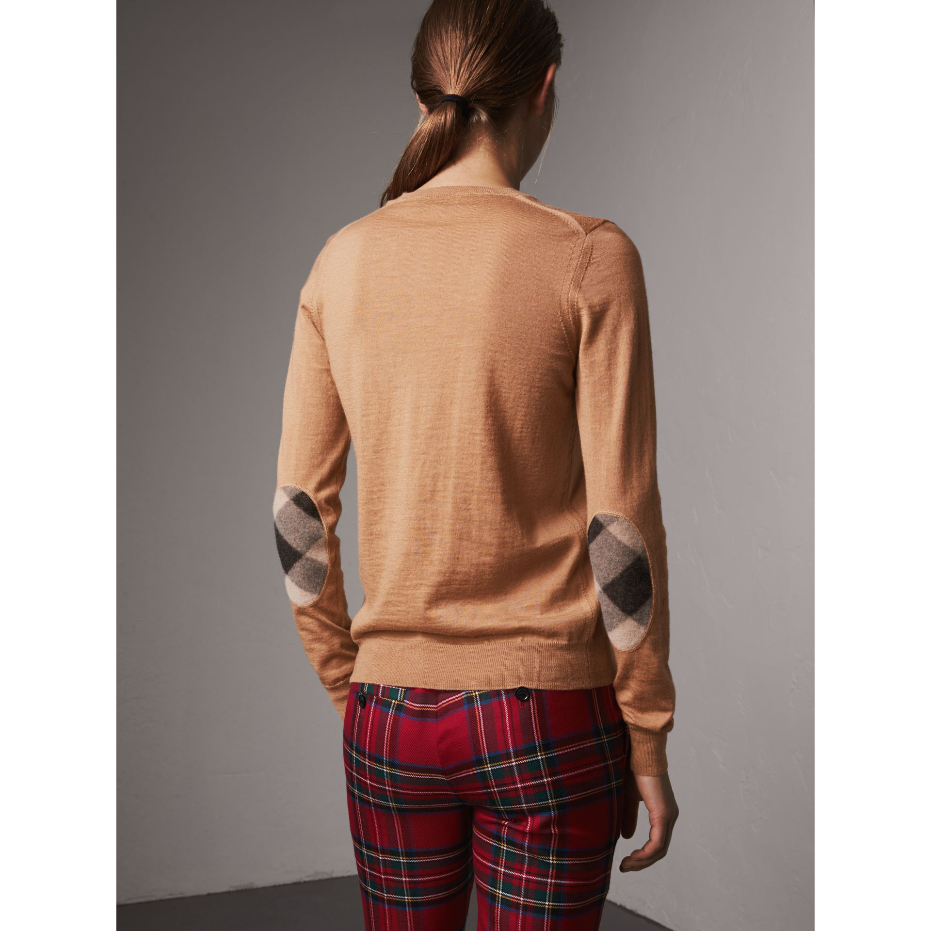 Check Detail Merino Wool Sweater in Camel - Women | Burberry Singapore - gallery image 2