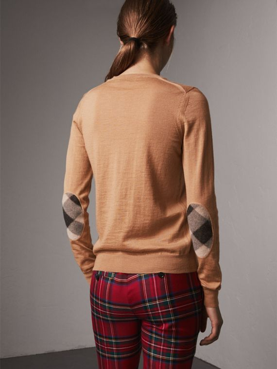 Check Detail Merino Wool Sweater in Camel - Women | Burberry - cell image 2