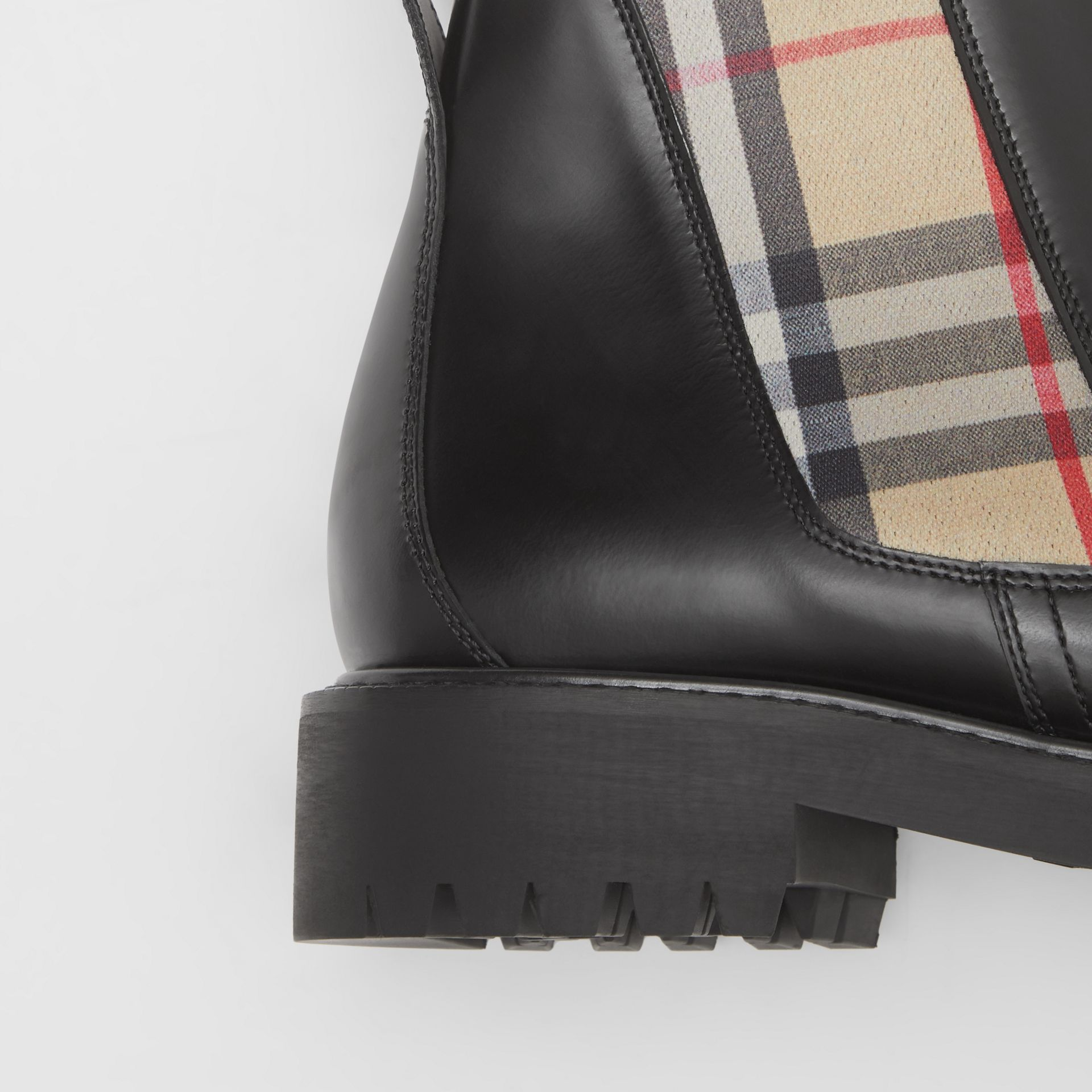 Vintage Check Detail Leather Chelsea Boots in Black - Women | Burberry Canada - gallery image 1